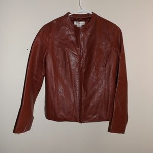 Madison & Max Red Leather Jacket M